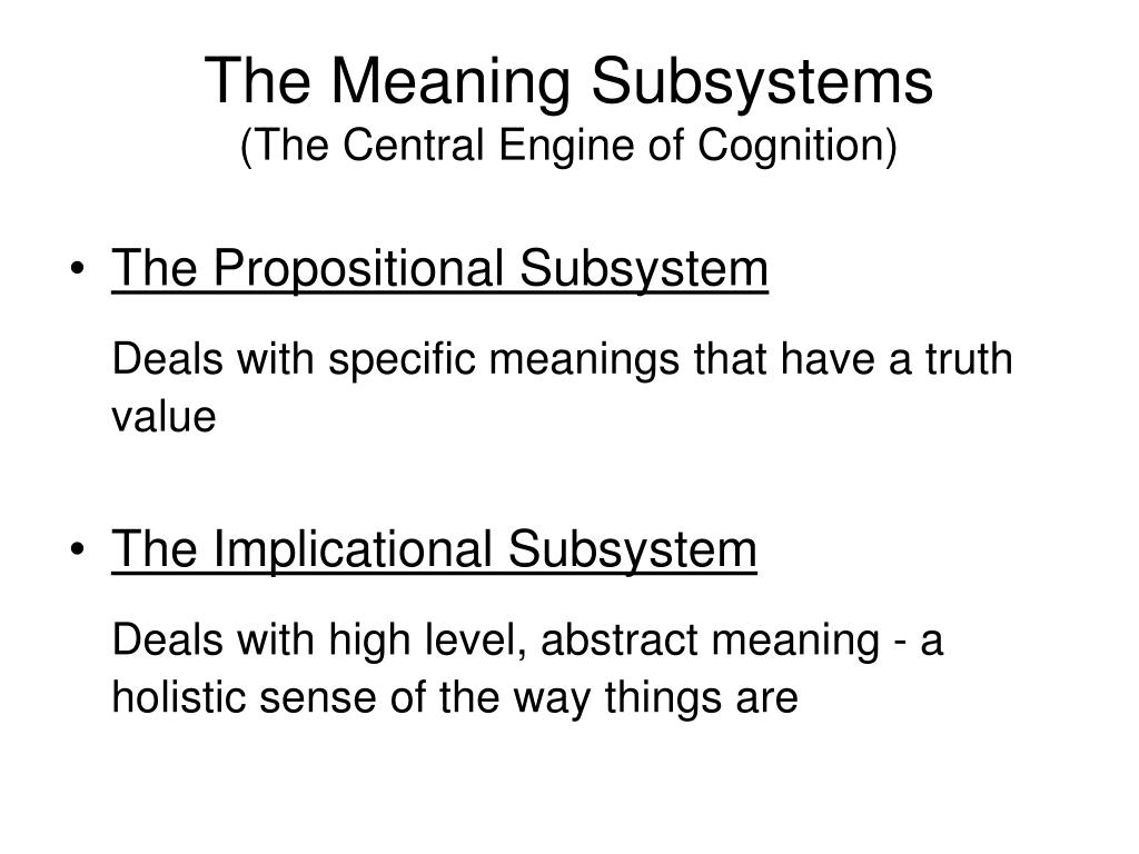 The Meaning Subsystems
