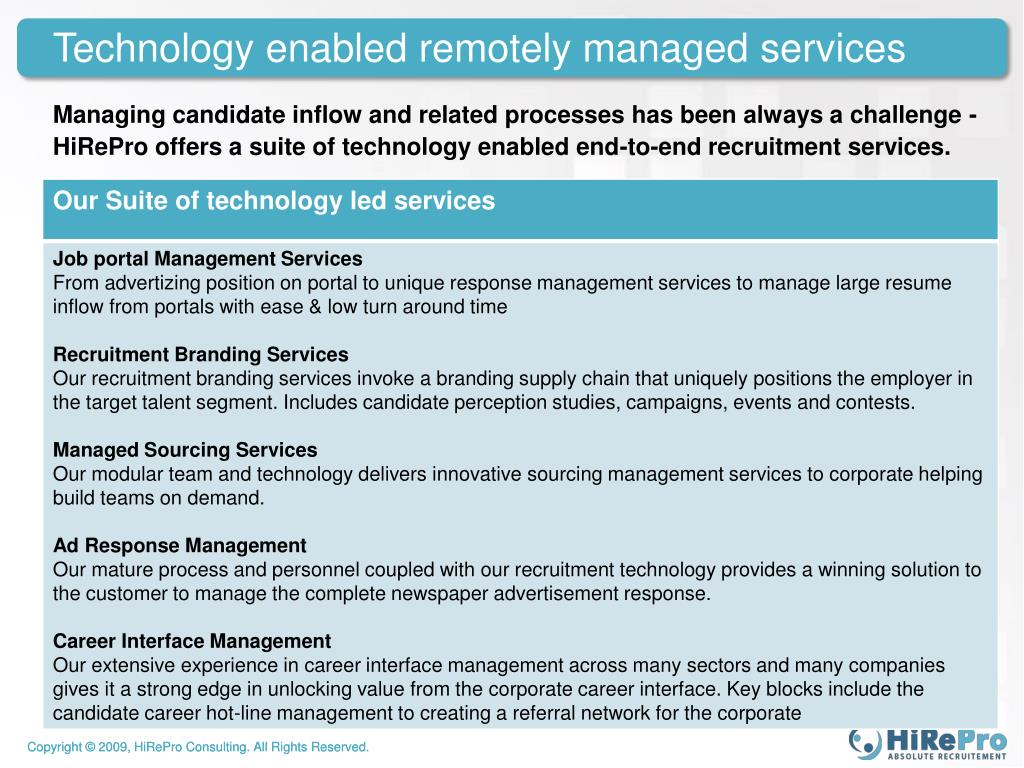Technology enabled remotely managed services