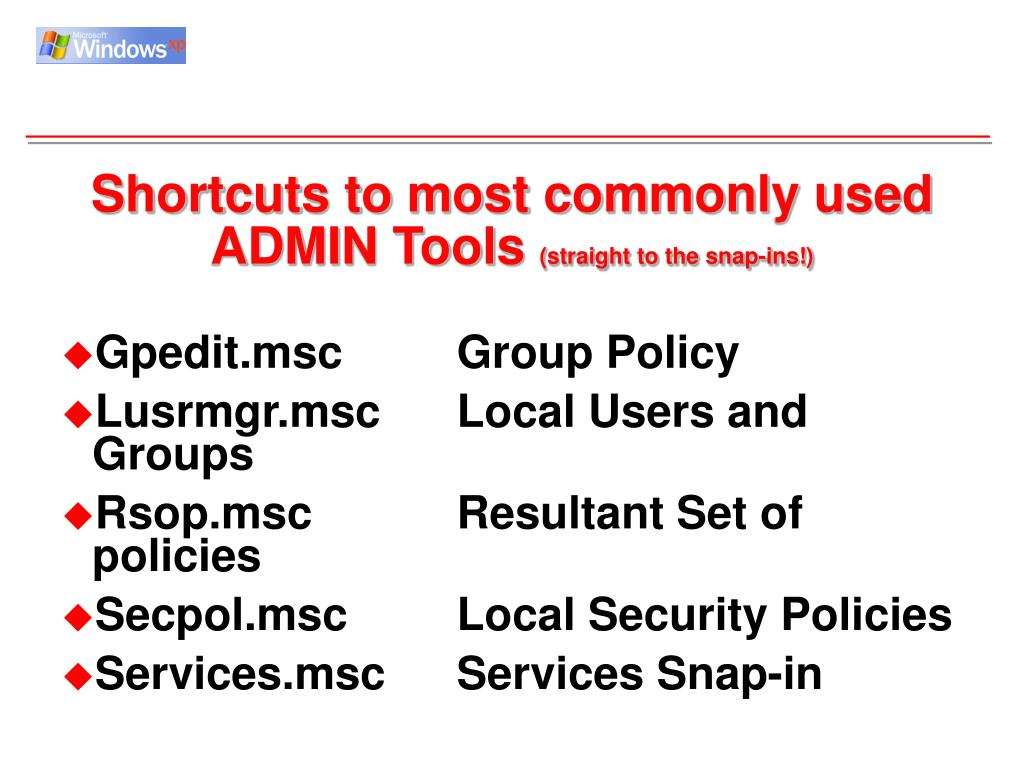 Shortcuts to most commonly used