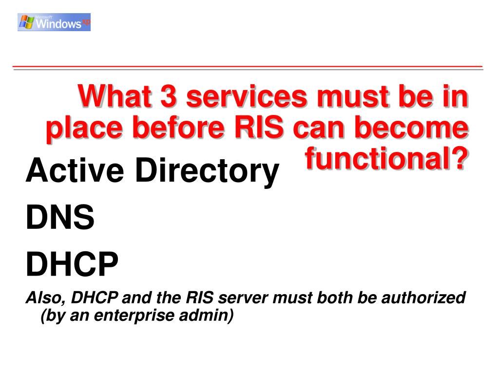What 3 services must be in place before RIS can become functional?
