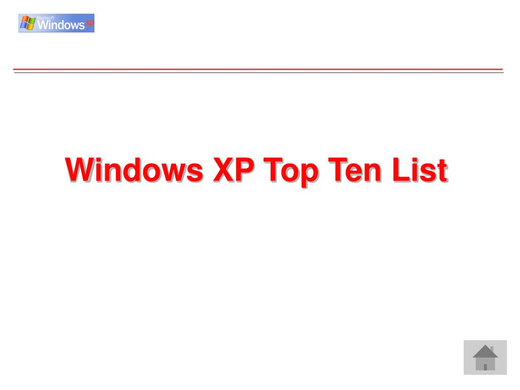 Windows XP Top Ten List