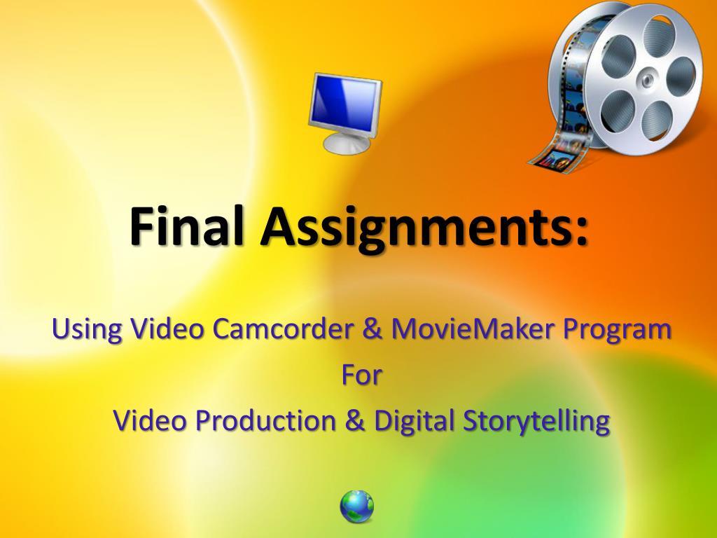 Final Assignments: