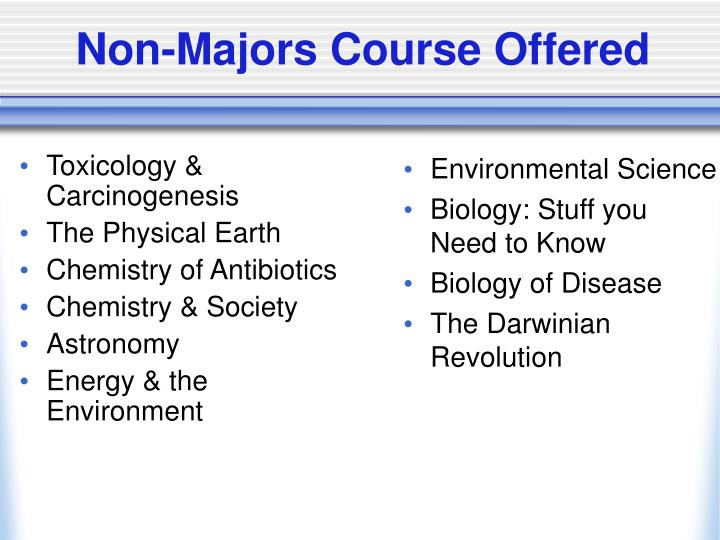 Non majors course offered