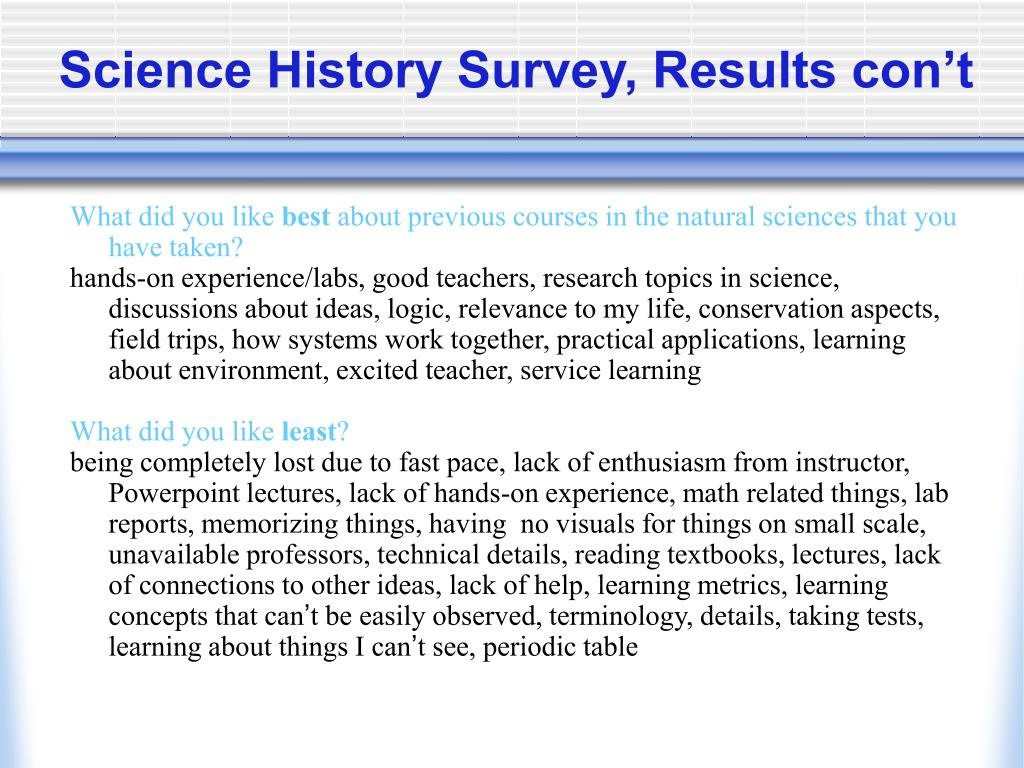 Science History Survey, Results con't