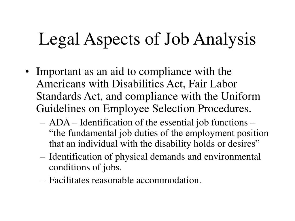 Legal Aspects of Job Analysis