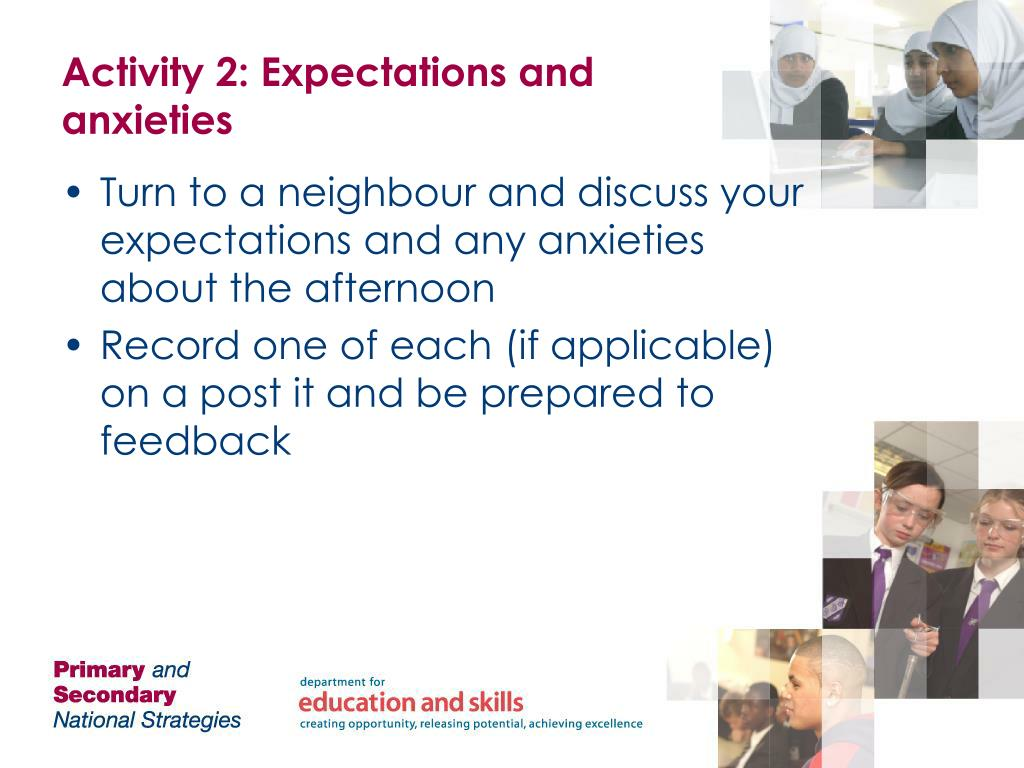Activity 2: Expectations and anxieties