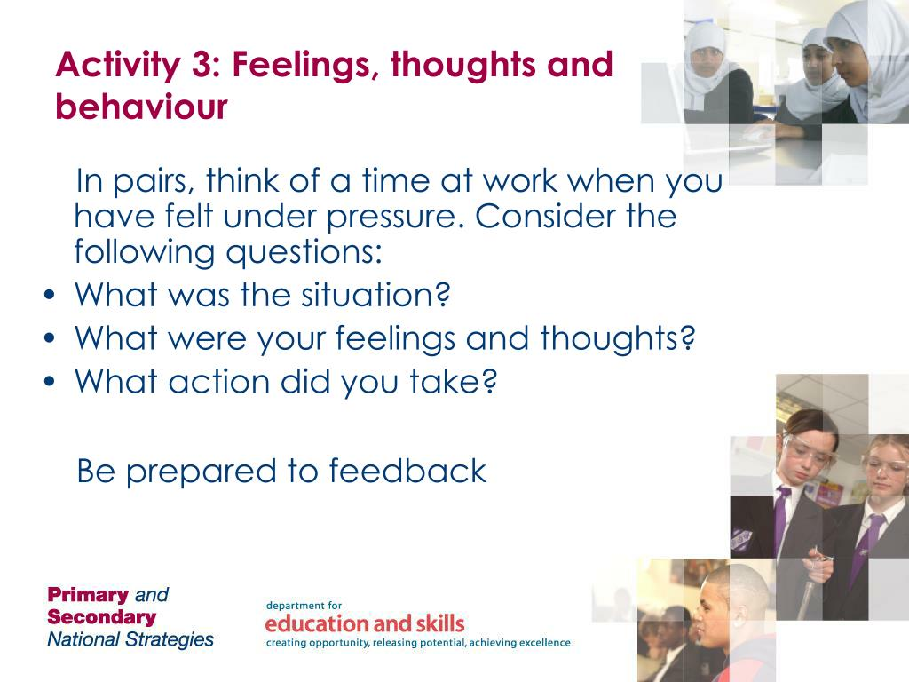 Activity 3: Feelings, thoughts and behaviour