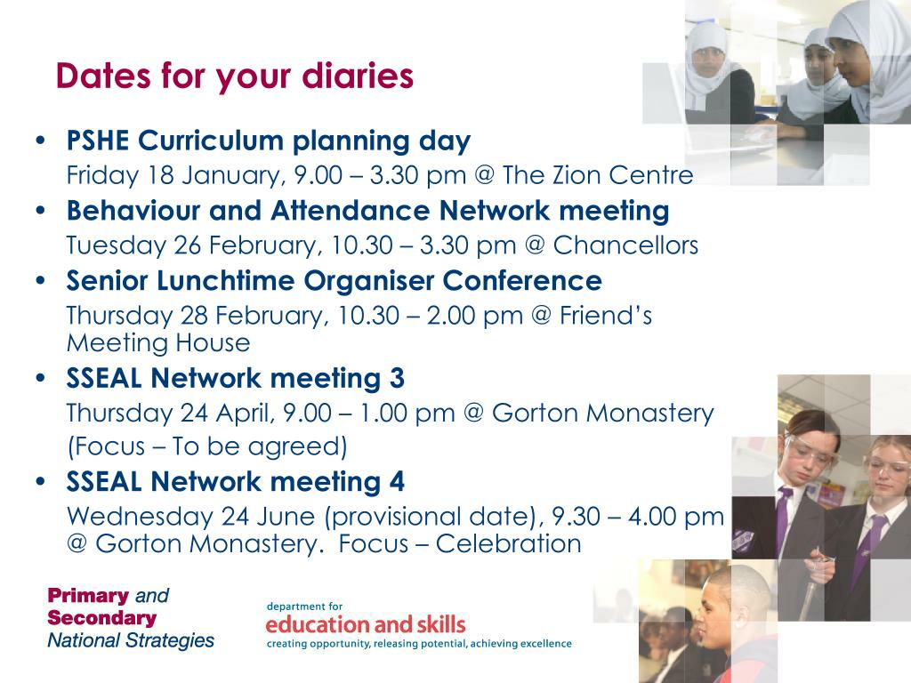 Dates for your diaries