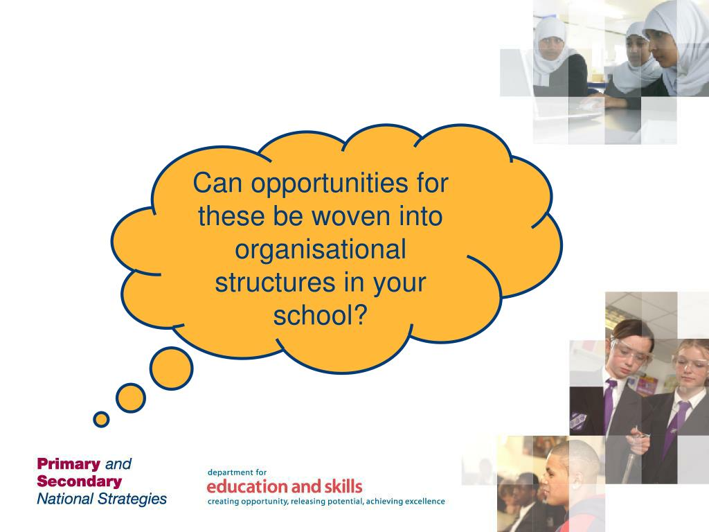 Can opportunities for these be woven into organisational structures in your school?