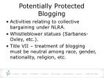 potentially protected blogging