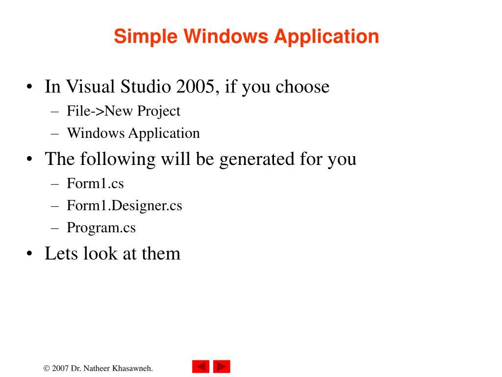 Simple Windows Application