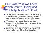 how does windows know which icon to display and which application to run