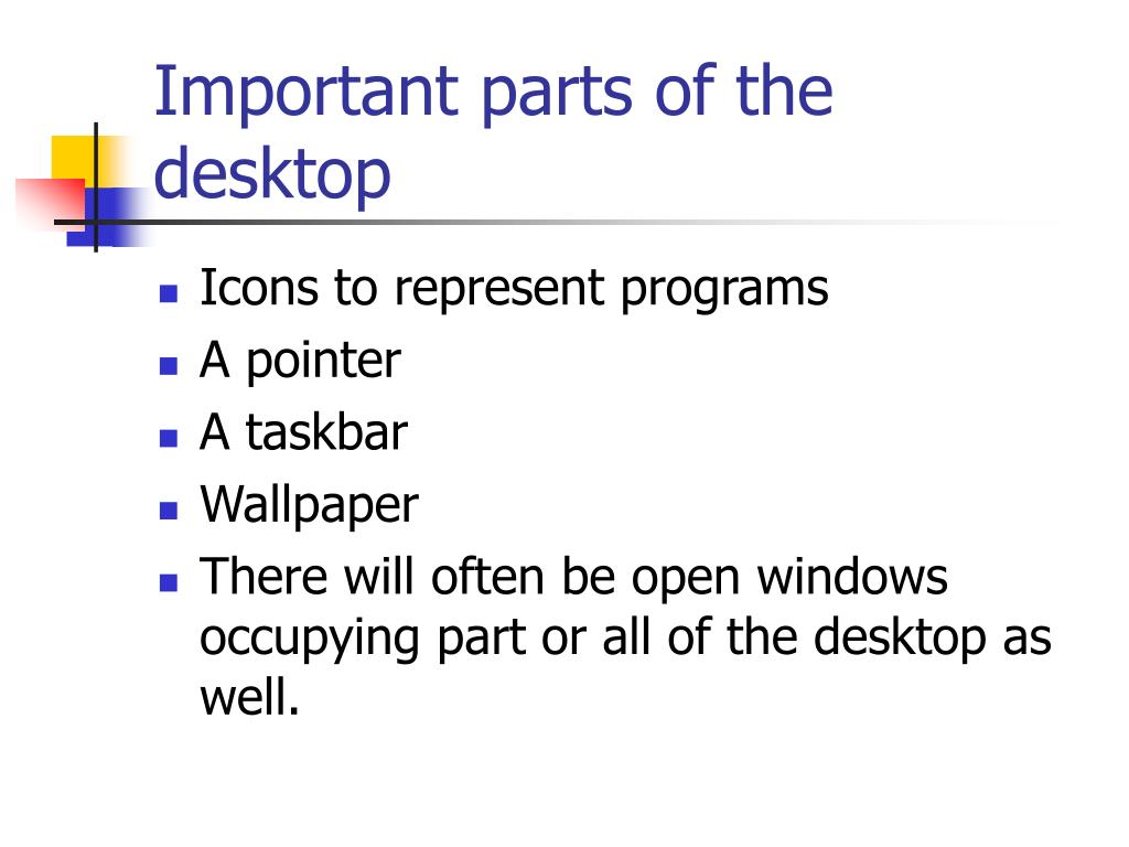 Important parts of the desktop