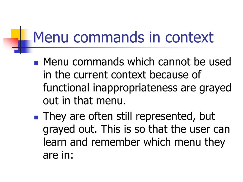 Menu commands in context