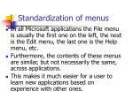 standardization of menus