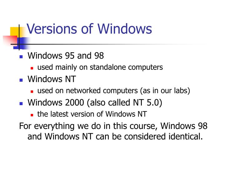 Versions of windows