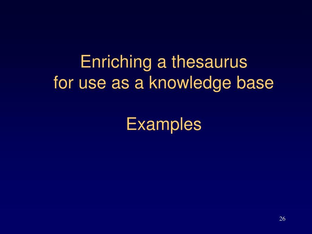 Enriching a thesaurus