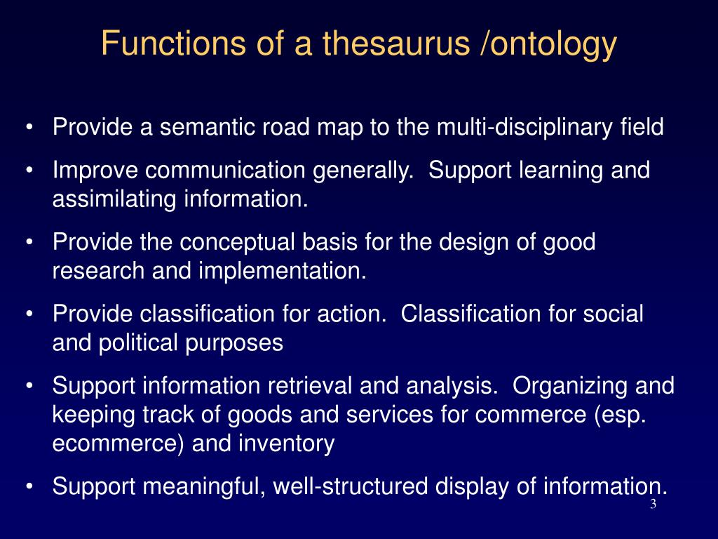 Functions of a thesaurus /ontology
