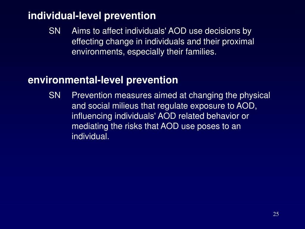 individual-level prevention