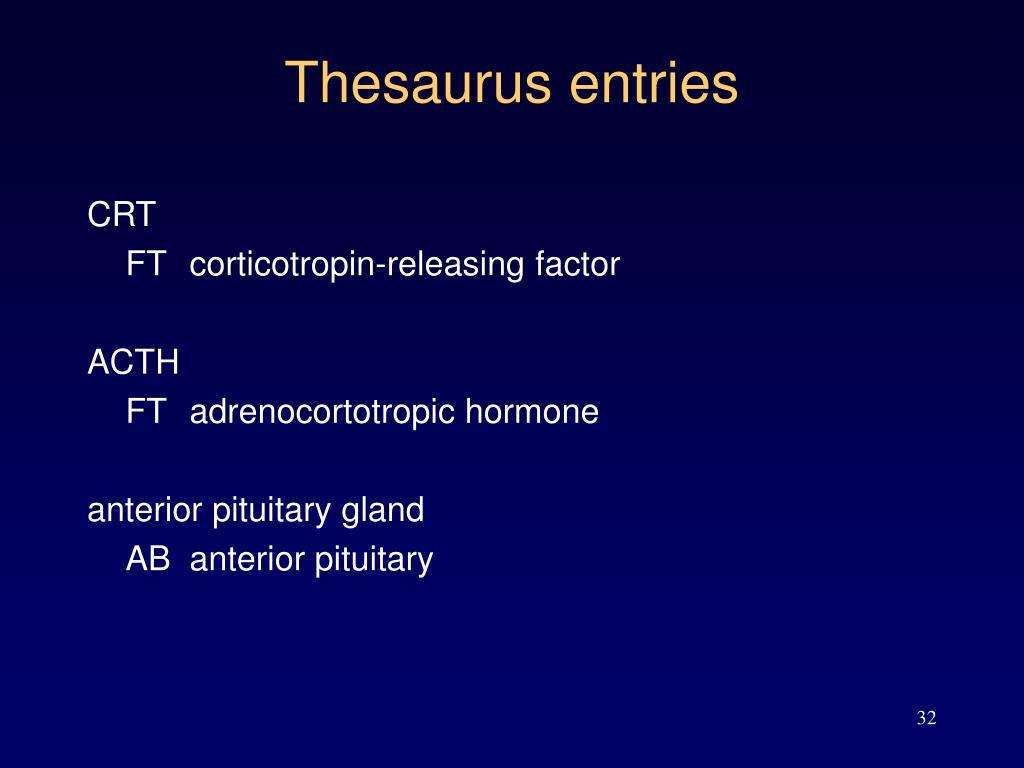 Thesaurus entries