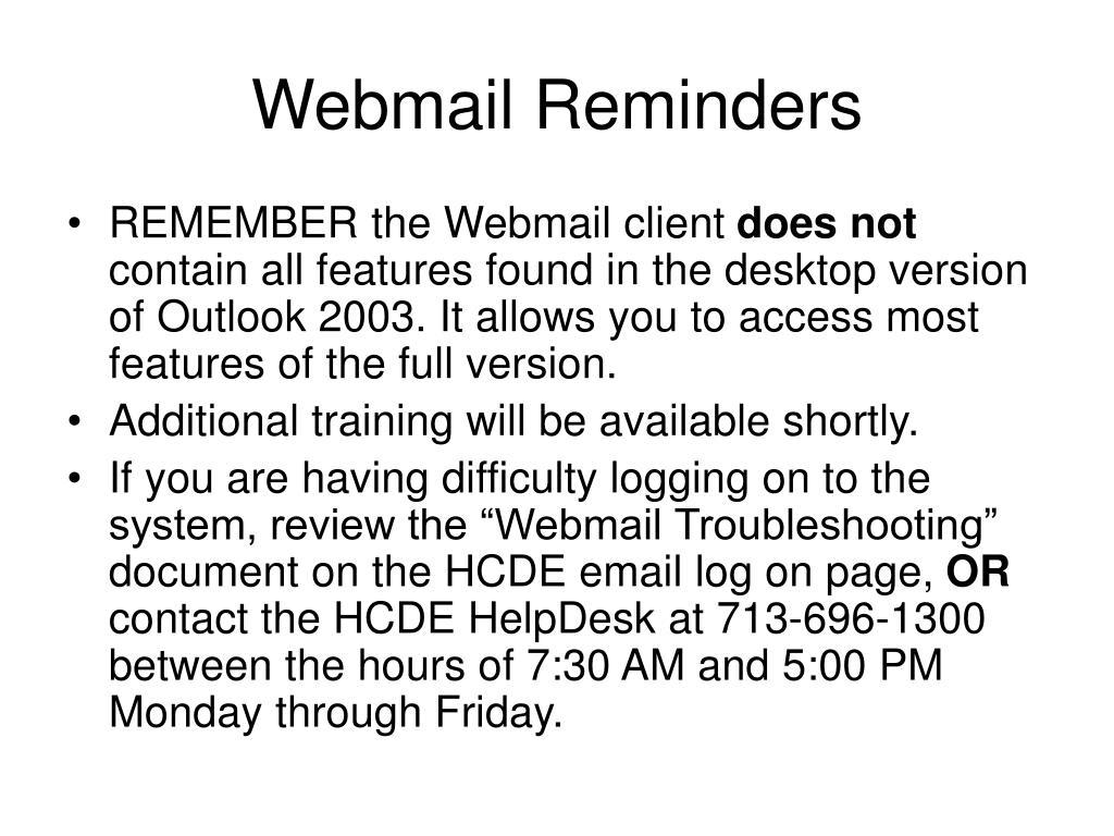 Webmail Reminders