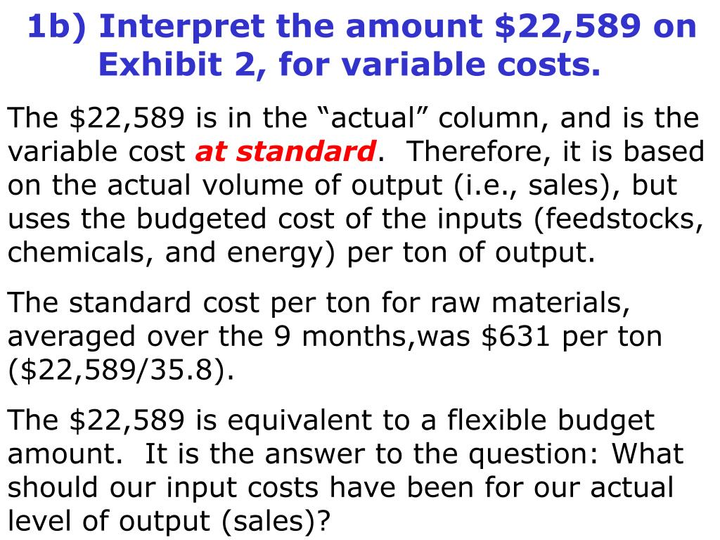 1b) Interpret the amount $22,589 on 	Exhibit 2, for variable costs.