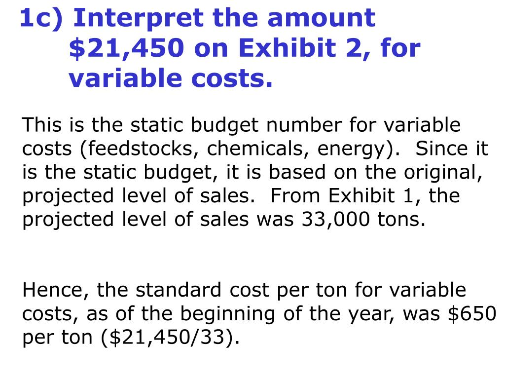 1c) Interpret the amount 	$21,450 on Exhibit 2, for 	variable costs.