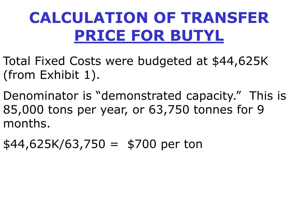 CALCULATION OF TRANSFER