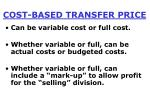 cost based transfer price