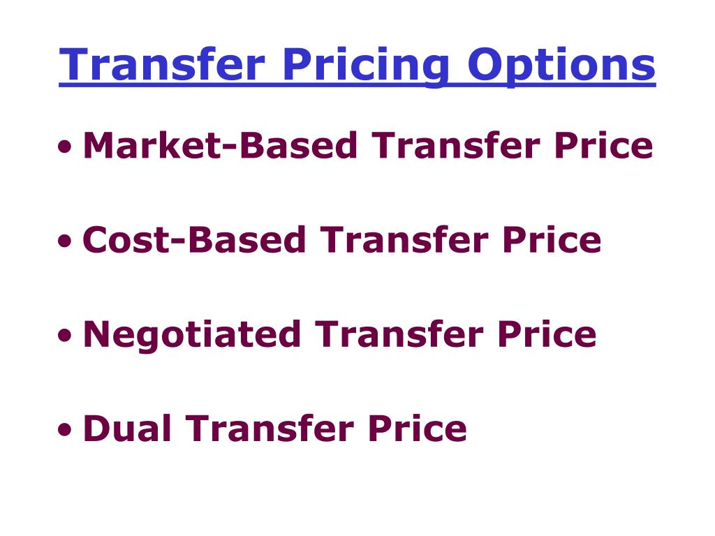 Transfer Pricing Options
