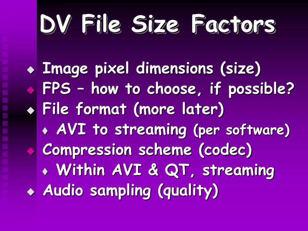 DV File Size