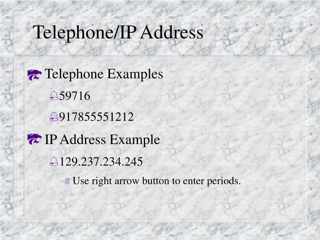 Telephone/IP Address