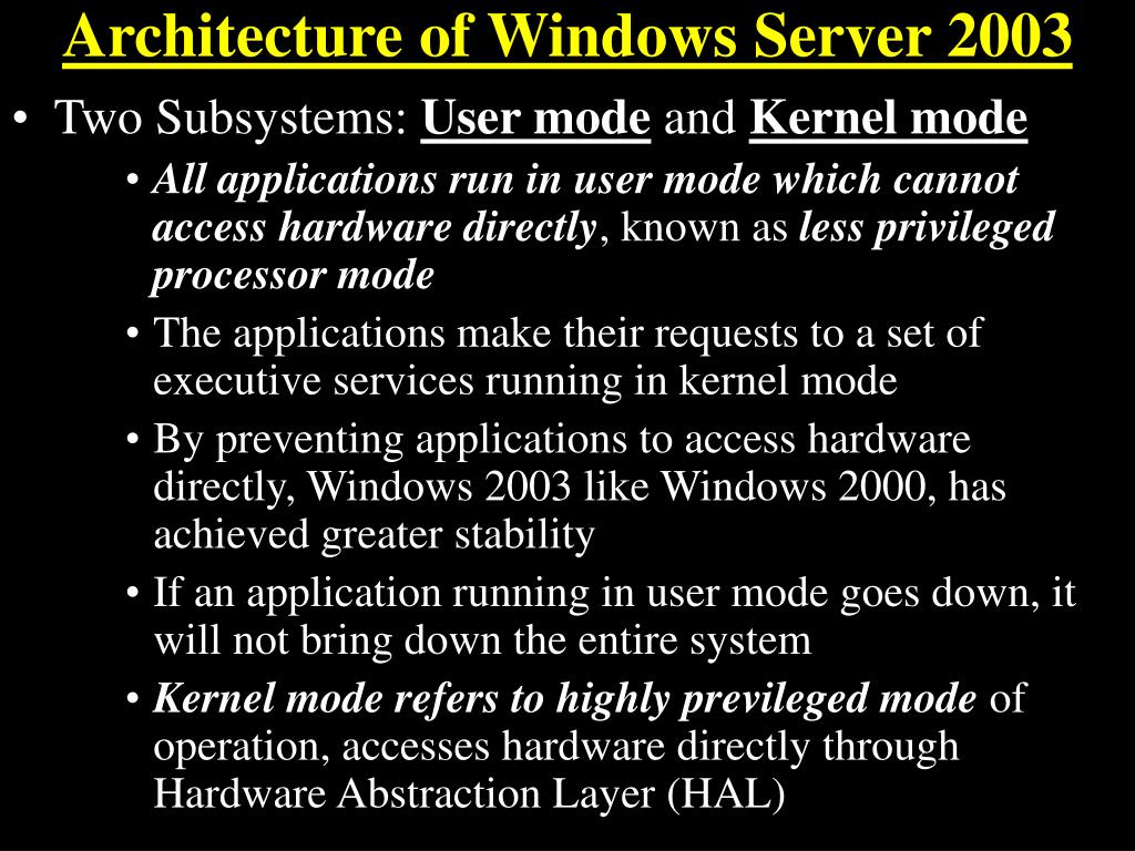 Architecture of Windows Server 2003