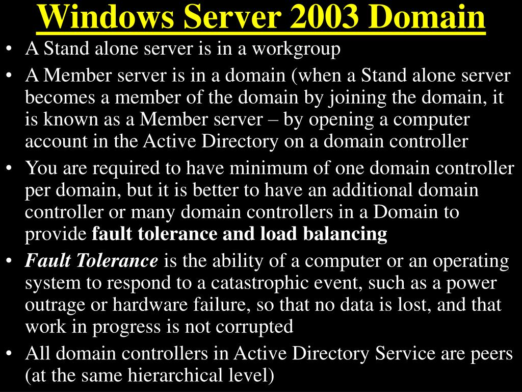Windows Server 2003 Domain