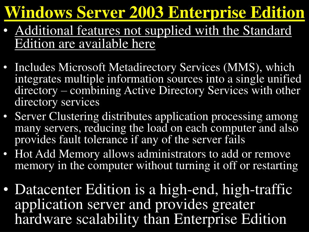 Windows Server 2003 Enterprise Edition
