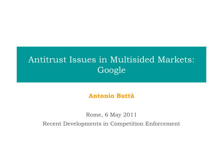 antitrust issues in multisided markets google