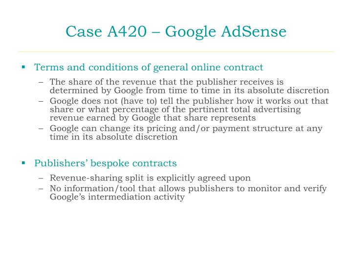 Case A420 – Google AdSense