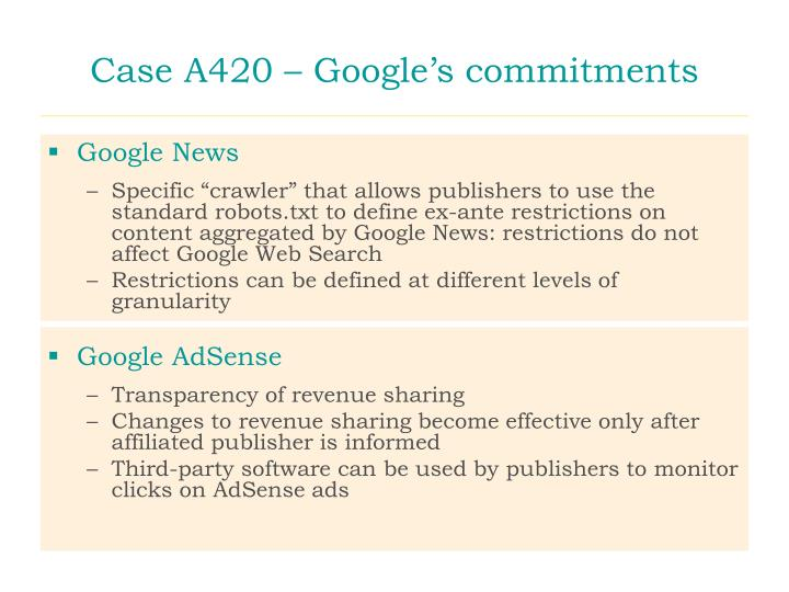 Case A420 – Google's commitments
