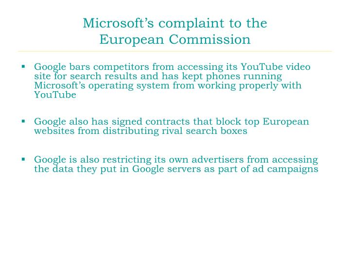 Microsoft's complaint to the