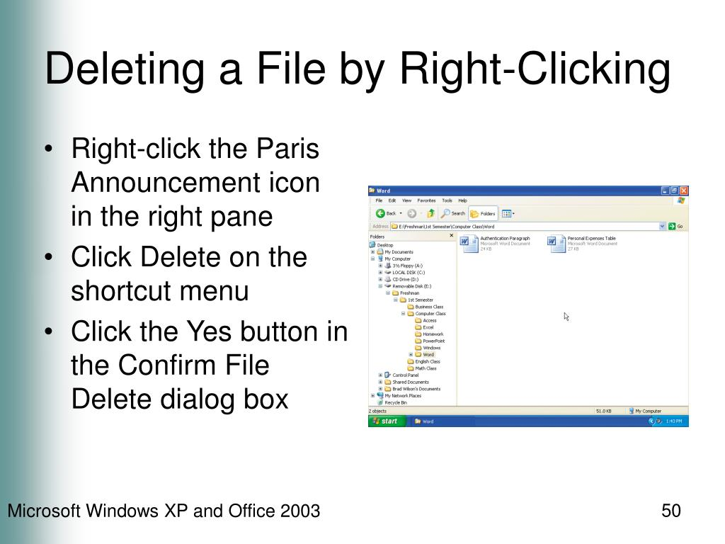 Deleting a File by Right-Clicking
