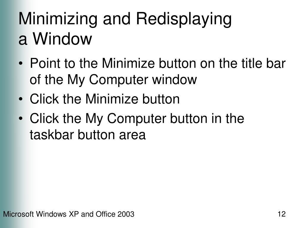 Minimizing and Redisplaying