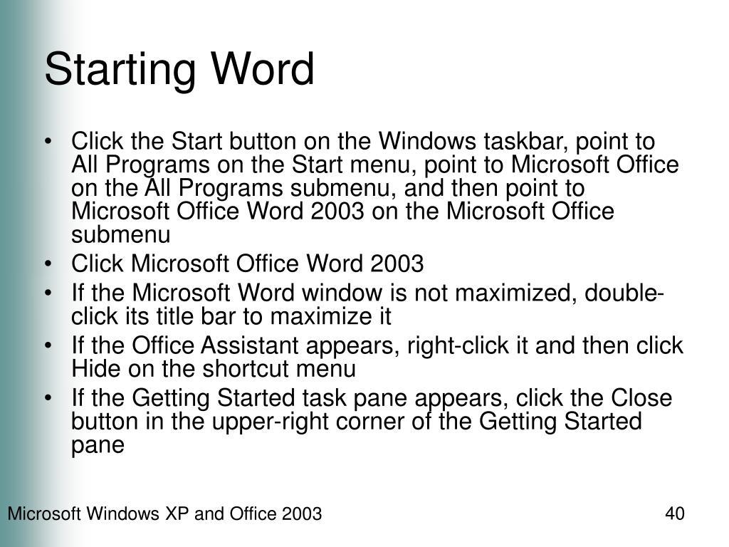 Starting Word