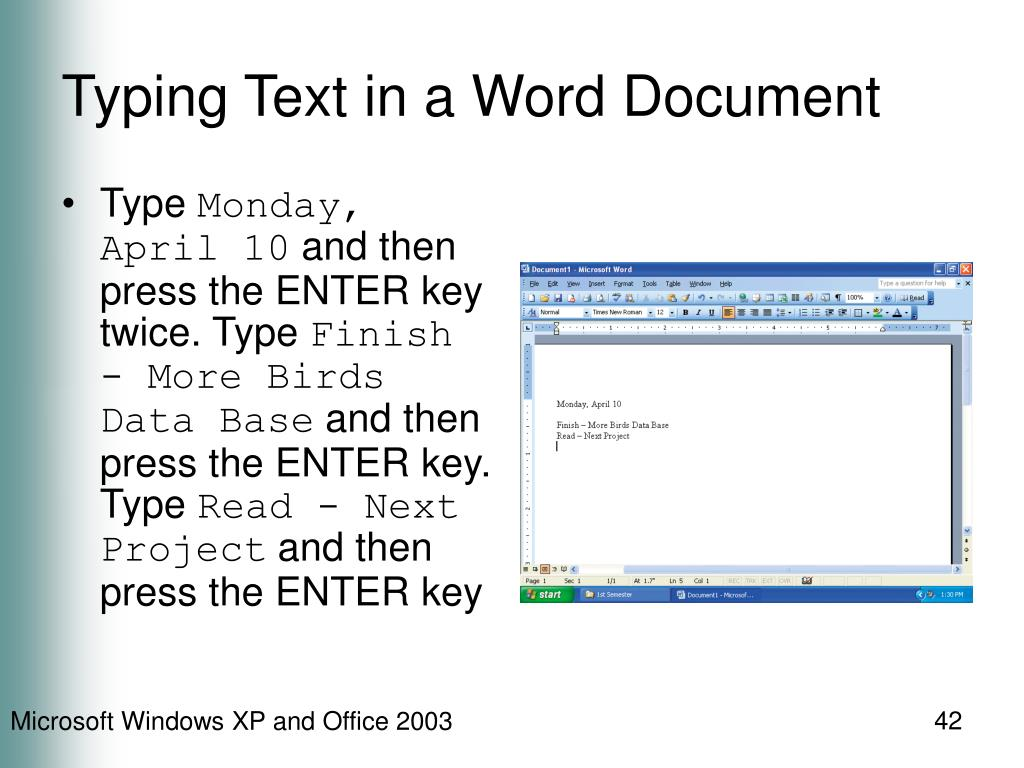 Typing Text in a Word Document