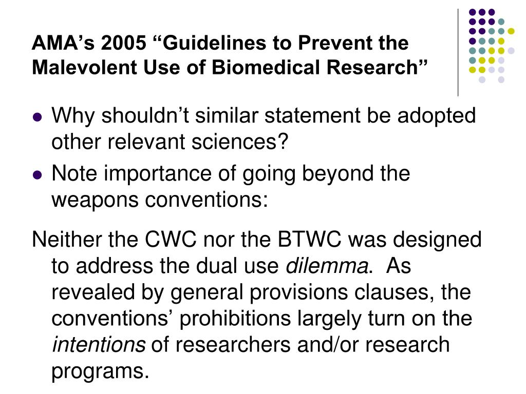 """AMA's 2005 """"Guidelines to Prevent the Malevolent Use of Biomedical Research"""""""