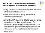 ama s 2005 guidelines to prevent the malevolent use of biomedical research14
