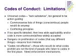 codes of conduct limitations