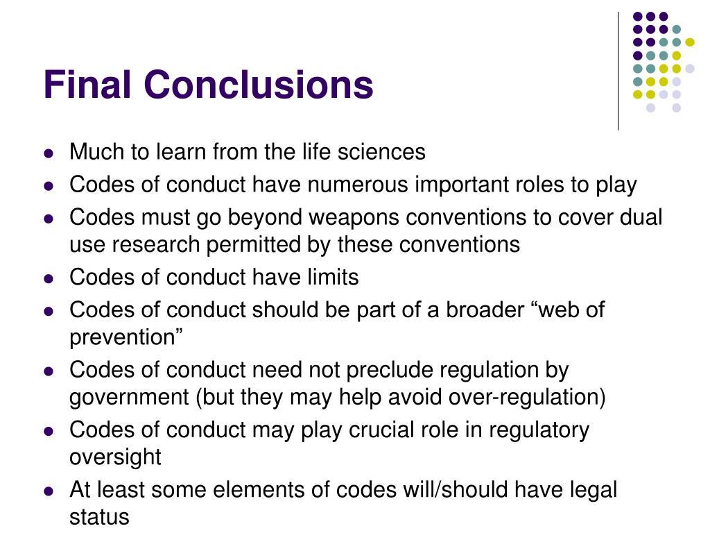 Final Conclusions