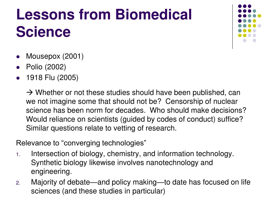 Lessons from Biomedical Science