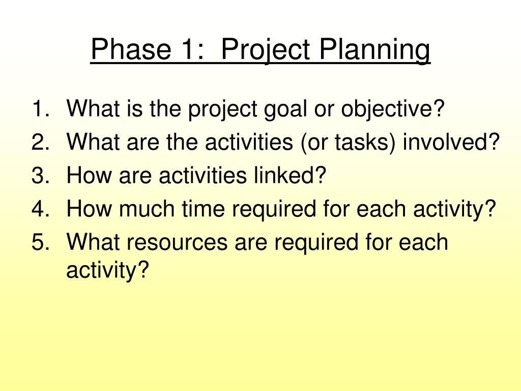Phase 1:  Project Planning