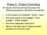 phase 3 project controlling